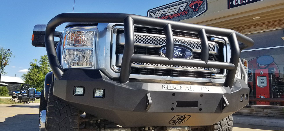 Road Armor front bumper installed on truck